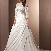 -line Off-the-shoulder Court Train Chiffon Wedding Dress (Availabe in size 2-26w,Visit NkeruCouture.com for more sizes)