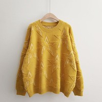 H.SA Winter New Women Pullover and Sweaters Oneck Stars Pattern Jumpers Loose Style oversized Knitwear cashmere sweater