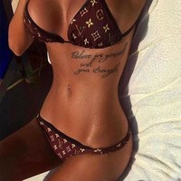 LV Louis Vuitton Summer New Fashion Ladies Halter Monogram Print Bandage Bottom Side Knot Women Straps Swimsuit Two Piece Bikini