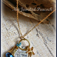 """GOLD NECKLACE, starfish, dreaming of sea, beach, crystal, ocean, womens necklace, 16"""" nautical, birthday gift, unique, silver, blue"""
