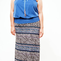 Blue Tribal Maxi Skirt