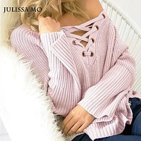 Julissa Mo Solid Sweater 2016 Women Sexy V Neck Long Sleeve Sweaters Pullovers Elegant Lace Up High Low Red Knit Jumper Sweater