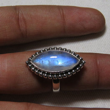 Rainbow Moonstone  Ring Marquise Shape Cabochon Ring So Nice Blue  Flash Fire Ring Designer Ring Silver Ring
