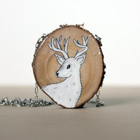 wooden deer necklace- hand painted doe necklace- summer fashion woodland creationblack friday cyber monday sale