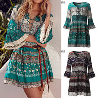 Ladies Casual Long Sleeve Loose Floral Dresses Colorful Fashion Mini Dresses Summer BOHO Women Clothing