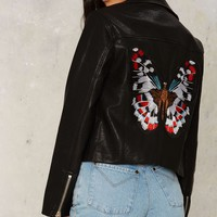 Nasty Gal Butterfly Patch Embroidered Moto Jacket