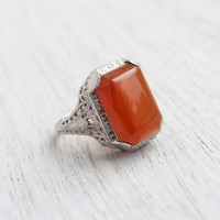 Antique 10k White Gold Carnelian Red Ring - Size 5 Vintage Filigree Art Deco Fine Jewelry / Open Metal & Embossments