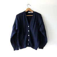 vintage wool cardigan sweater. button down sweater. navy blue cardigan. seashell buttons.