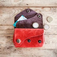 RED Leather PURSE // Small leather wallet // Color Leather bag purse // Leather coin p