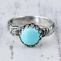 Turquoise ring, sterling silver, vintage style, thick floral band, stacking ring, light blue, 8 mm Arizona turquoise, princess crown setting