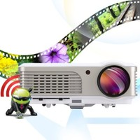 EUG LCD Hdmi Projector Built-in Android System 2600lumens 1080p Multimedia Full Hd Compatible for Home Cinema, Movie, Video Games Wireless with Wifi