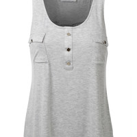 LE3NO Womens Flowy High Low Jersey Tank Top with Pockets (CLEARANCE)