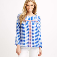 Tie-Dye Gingham Embroidered Top