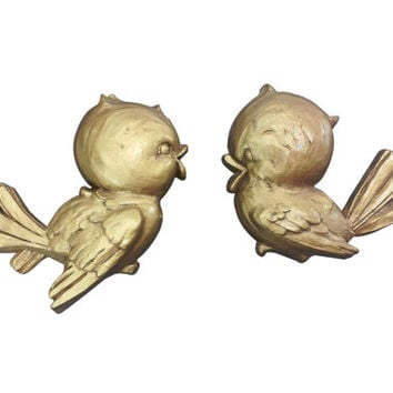 Pair of Baby Bird Wall Plaques, Gold Sparrow Bluebirds Wall Hanging, Mid Century Decor, Hollywood Regency, Universal Statuary Corp