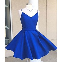 Short Blue Prom Dress, Homecoming Dresses, Graduation School Party Gown, Winter Formal Dress, DT0155