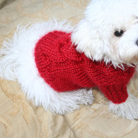 Dog Sweater   Red Sweater   Pet Clothing   Hand Knit Dog Clothes   Cable Dog Sweater   Pets by BubaDog