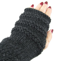 Knit Fingerless Gloves, Texting Gloves, Arm Warmers, Knit Gloves, Fashion Accessory, Hand Warmers, Gray Charcoal Gloves, Gift Ideas For Her