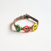 Brown Hemp Bracelet with Green, Orange and Yellow Peace Sign Beads ready to ship. SOLD! *CUSTOM ORDERS AVAILABLE UPON REQUEST*