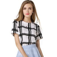 White Plaid Chiffon Shirt