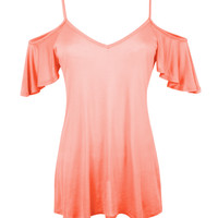 LE3NO Womens Loose Short Sleeve Asymmetric Tunic Top (CLEARANCE)
