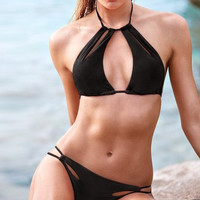 Hollow Sexy Hot Halter Black Two Piece Summer Swimsuit Bathing Suit Bandage Bikini Set _ 236