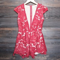 lioness - floral appliqué deep plunge tailored romper - red