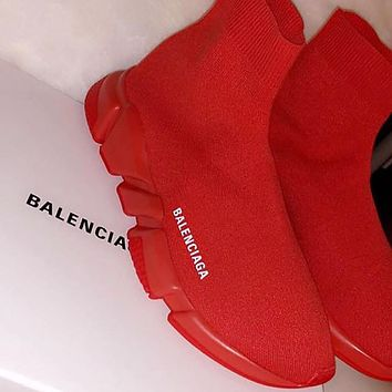Balenciaga Sock Boots Woman Men Fashion Breathable Sneakers Running Shoes Red(Red sole)