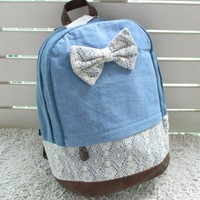 Cool Lace Bowknot Jeans Backpack Ba.. on Luulla