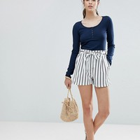 Boohoo Striped Tie Waist Shorts at asos.com