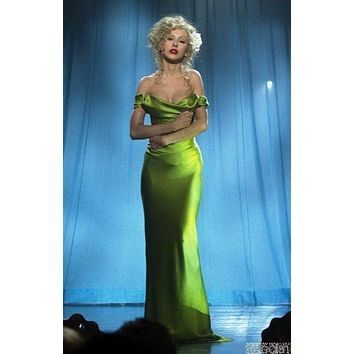 Christina Aguilera Green Off-the-shoulder Cowl Neck Prom Dress The Celebrity Dress In Burlesque Red Carpet Dress