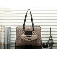 Coach Popular Women Shopping Bag Leather Satchel Handbag Tote Shoulder Bag Two Piece Set Apricot/Coffee I-OM-NBPF