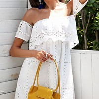I'll Let You In White Eyelet Lace Short Sleeve Off The Shoulder Tiered Casual Mini Dress - Sold Out