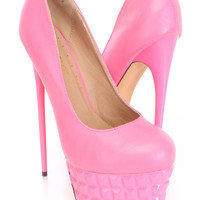 Pink Carved Platform Pump High Heels Faux Leather