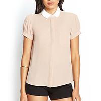 FOREVER 21 Contrast Peter Pan Collar Blouse Blush/Ivory