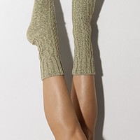 Dried Herb Marled Cable Knit Crew Socks