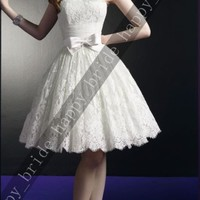 New lace Knee Length Wedding Dress Ball Gown Short Prom evening Dress Size 6-16