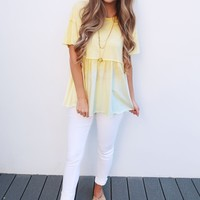Double Take Top: Canary/White