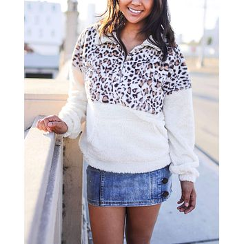 Mock Neck Animal Print Half-Zip Front Pocket Pullover in Ivory