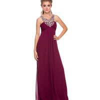 Burgundy Chiffon Sequin Prom Dress 2015 Prom Dresses