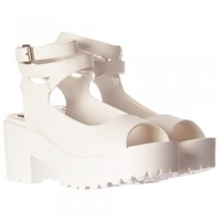 Onlineshoe Peep Toe Strappy Platform Summer Sandals - Chunky Cleated Sole Block Heel - White, Gold, Silver Hologram - Onlineshoe from Onlineshoe UK