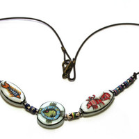 Leather Necklace, New Orleans Gumbo, Sea Food Gumbo, Pendant Necklace, Ceramic Beads, Cajun Sea Food Beads, Hand Painted Beads, Gift For Her