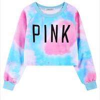 Blue Ombre Printed Cropped Sweatshirt