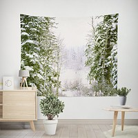 Snowy Forest Microfiber Wall Tapestry