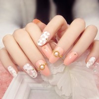 24pcs long for Round Head with Glitter Finished Nail Tips  sticker printing Fake Nails(Contains no glue)