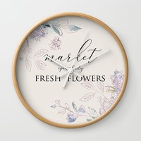 fresh flower market Wall Clock by sylviacookphotography
