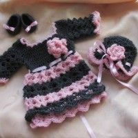 Charcoal Grey pink baby dress, crochet dress, baby outfit
