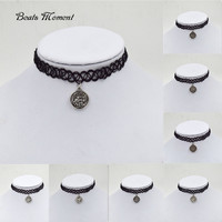 twelve constellations necklace B&M 2015 New Vintage Stretch Tattoo Choker Necklace Gothic Punk Elastic with Pendant Necklaces