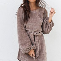 Rolling In Taupe Chenille Tie Sweater Dress