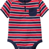 Striped Henley Bodysuits for Baby