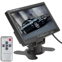 """Black Car Monitor 7"""" TFT LCD Car Rear View Camera Monitor Support 2CH Input + IR Remote Control For DVD VCD STB with Bracket"""